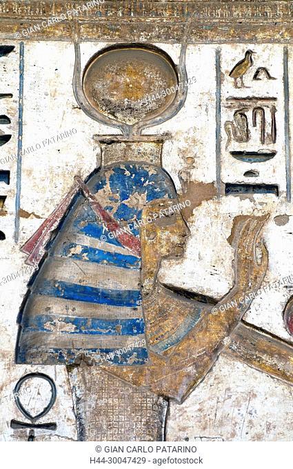 Medinet Habu, Luxor, Egypt, Djamet, mortuary temple of King Ramses III, ( XX dyn. 1185 -1078 B.C) - the goddess Hathor