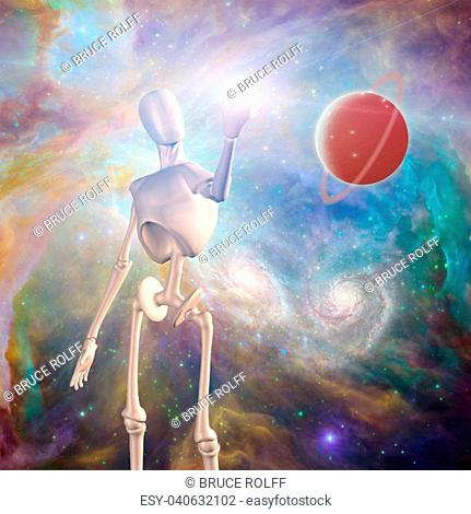 Robot and Red planet in vivid deep space