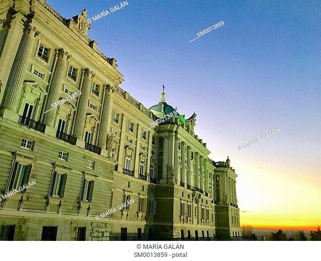 Facade of Royal Palace, night view. Madrid, Spain