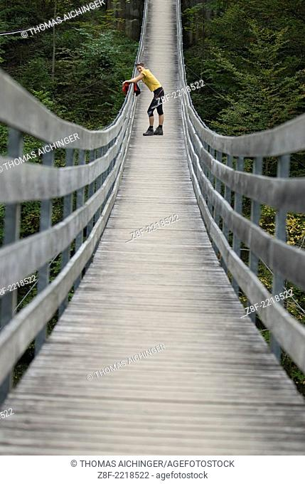 MR Rope bridge in Gesaeuse National Park, Palfau, Styria, Austria