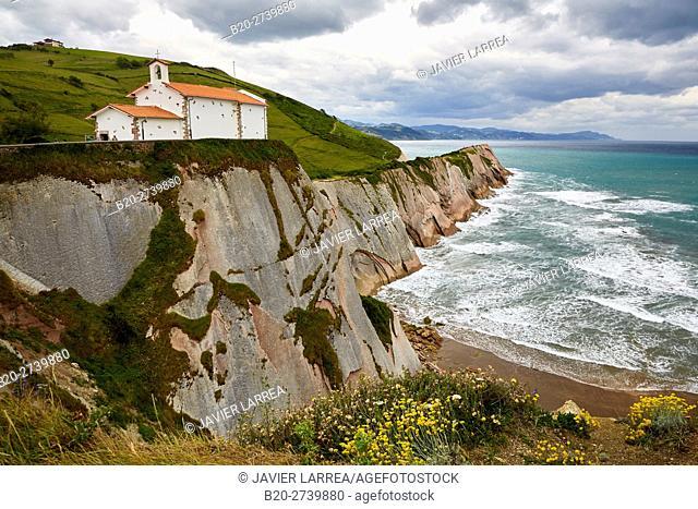 Chapel of San Telmo and flysch, tidal platform, Algorri, Zumaia, Guipuzcoa, Basque Country, Spain, Europe