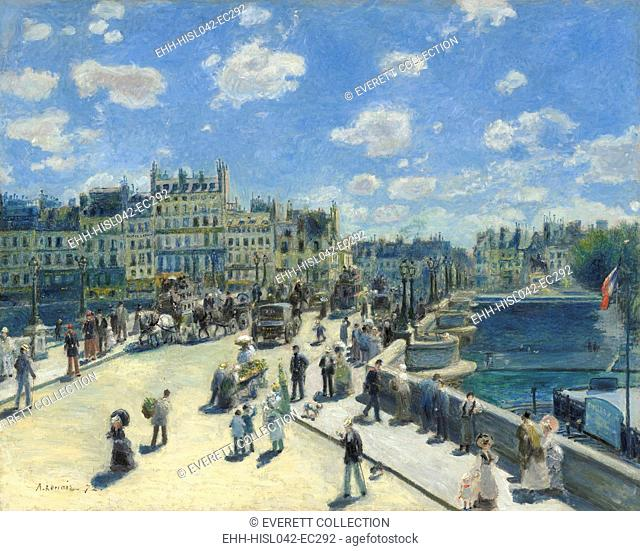 Pont Neuf, Paris, by Auguste Renoir, 1872, French impressionist painting, oil on canvas. Renoir's brother Edmond, in a straw boater and carrying the...