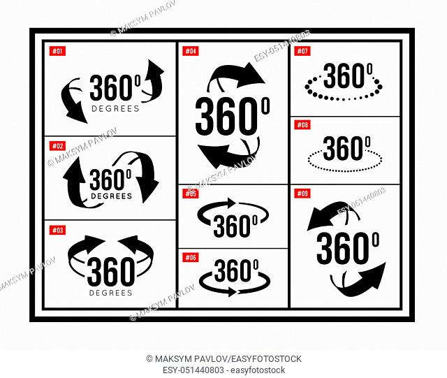 A set of signs 360 degrees in different versions. 3d arrows rotating. Black and white signs symbols set. Vector illustration
