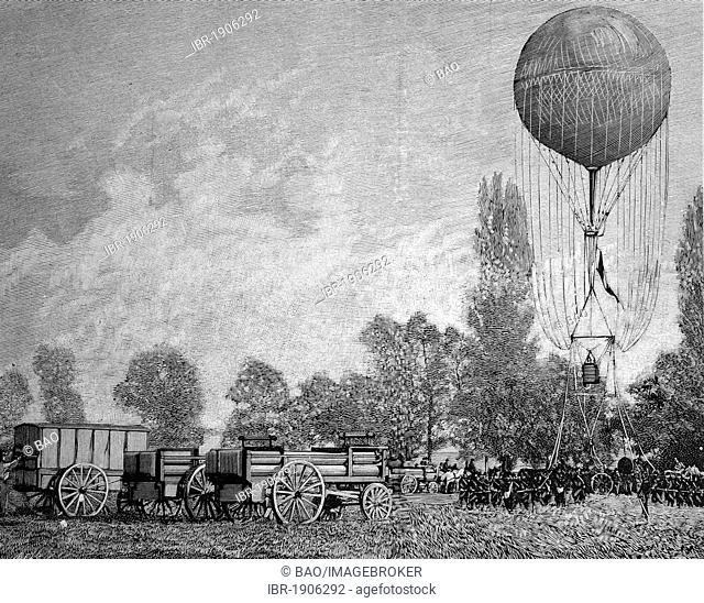 Use of a captive balloon in a French maneuver, woodcut circa 1871