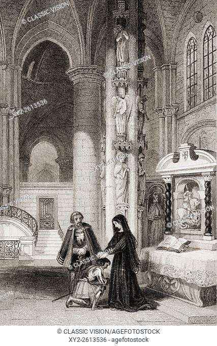 Strasburg Cathedral, Margaret of Anjou, 1429-1482. Queen of King Henry VI of England. Engraved by R. Staines after J. Franklin