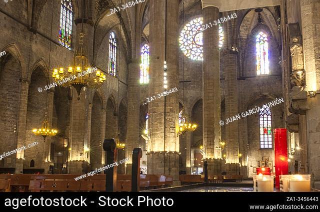 Barcelona, Spain - Dec 29th 2019: Airy interior of Gothic Basilica of Santa Maria del Mar, Barcelona, Spain. Indoors