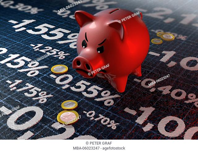 Grim, red piggy bank looks at negative interest figures. Some Euro coins scattered next to it