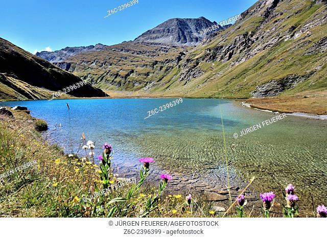 Mountain lake Lac Egorgéou near L'Èchalp, Hautes-Alpes, French Alps, France