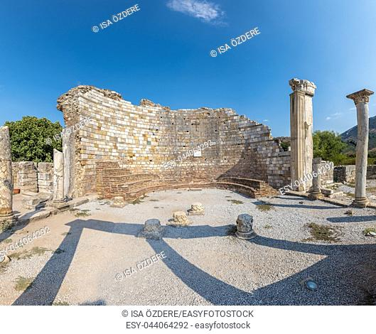 High Resolution panoramic view of ruins of the Church of Mary in ancient Greek city Ephesus, Selcuk, Turkey