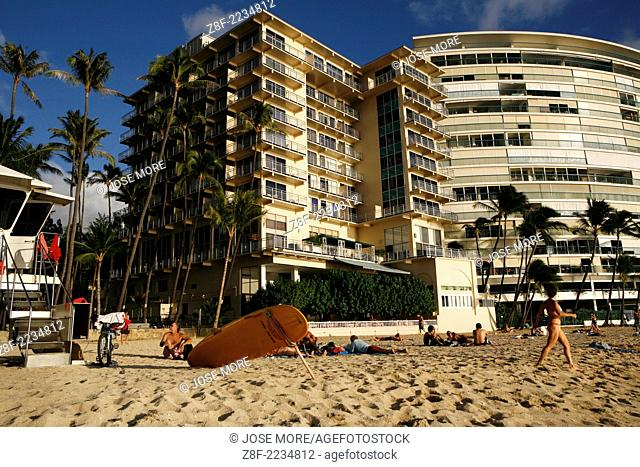 Kaimana Beach is frequented by locals looking for a day at the beach. The beach is a short walk from Waikiki Beach near the New Otani Hotel