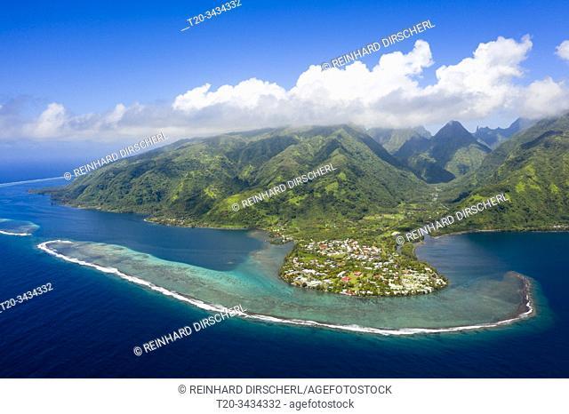 Aerial View of Vaitephiha Valley, Tahiti, French Polynesia