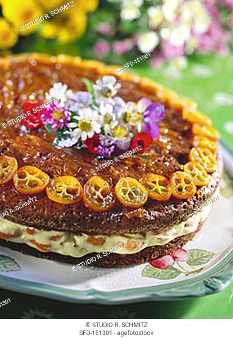 Daisy cake (cream gateau with oranges and kumquats)