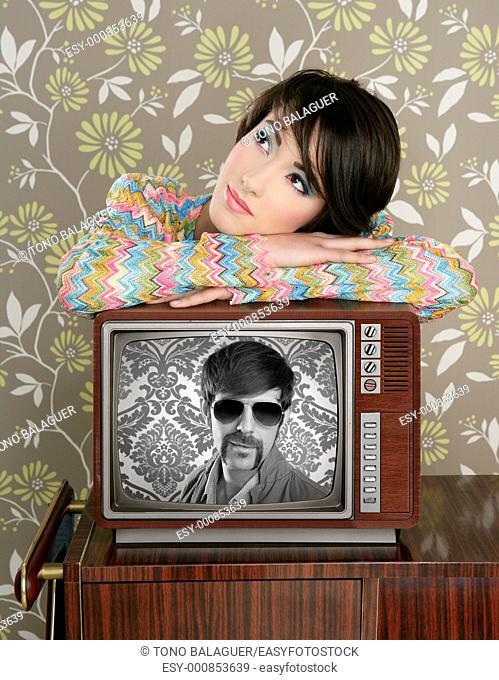 retro woman in love with tv nerd mustache hero vintage 60s wallpaper