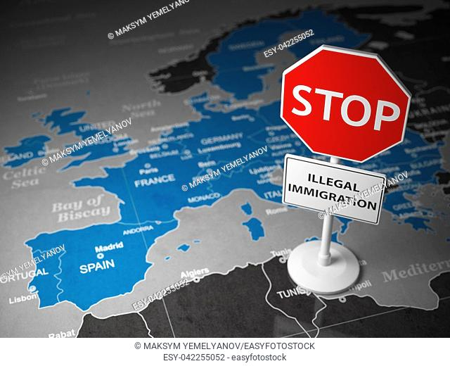 Stop illegal immigration concept. Sign stop on the map of Europe. 3d illustration