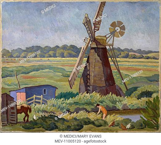 The Windmill, Minemere, Suffolk' – flat landscape with windmill, figure bathing, horse, hens and blue shack in the foreground