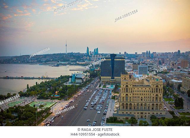 Azerbaijan, Caucasus, Eurasia, Baku, Government, aerial, architecture, avenue, bay, cars, city, downtown, fountains, skyline, sunset, touristic, travel, street