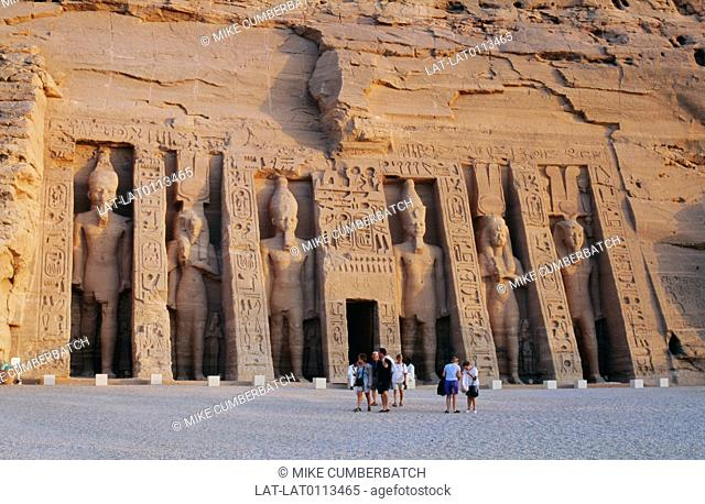 Abu Simbel is an archaeological site comprising two massive rock temples in southern Egypt on the western bank of Lake Nasser
