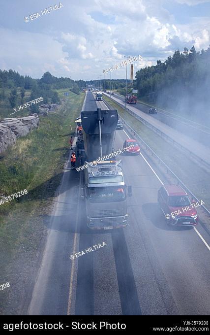 Highway resurfacing in progress, Lappeenranta Finland