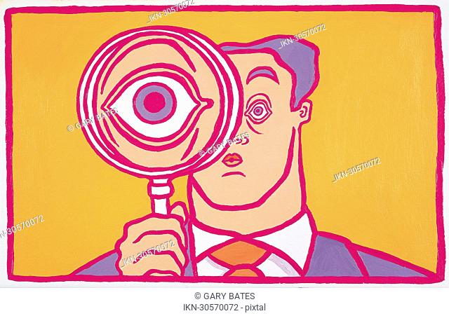 Large eye of a businessman behind magnifying glass