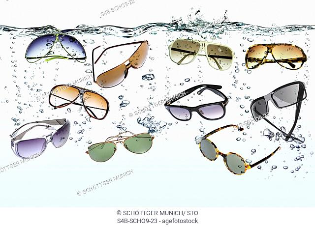 Sunglasses sinking in water