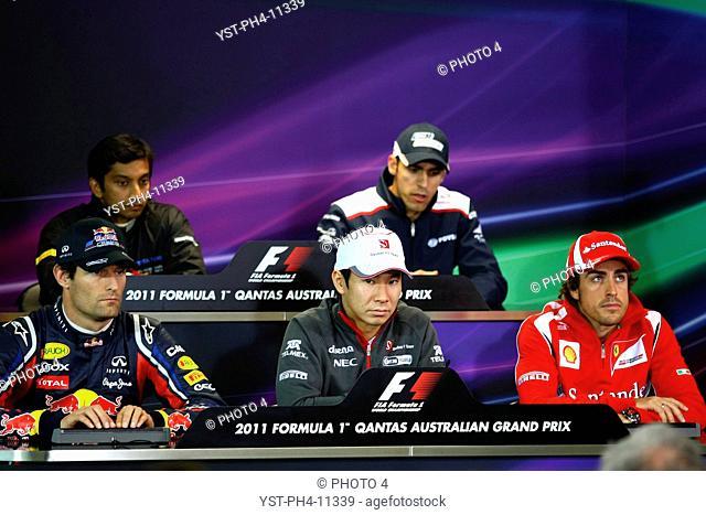 Press Conference, Narain Karthkeyan, Pastor Maldonado, Mark Webber, Kamui Kobayashi, Fernando Alonso, Australian Grand Prix, Melbourne, Australia