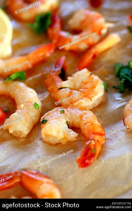 Shrimps. Heap of raw shrimps on the table