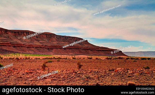 Panorama with Adrar mountain near Terjit, rocks and gorge in Mauritania