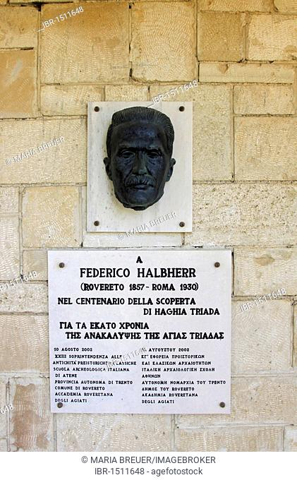 Portrait of Federico Halbherr, discoverer of the ancient settlement Haghia Triada, Agia Triada excavation site, Crete, Greece, Europe