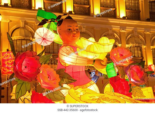 Display of Chinese New Year decorations, Senado Square, Macao, China