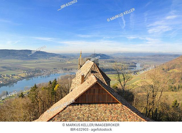 View over the roofs from the Hohenklingen castle - Stein am Rhein, Canton of Schaffhausen, Switzerland, Europe