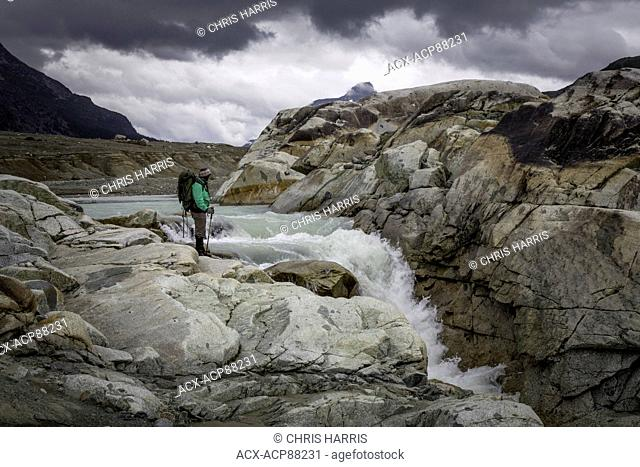 British Columbia, Canada, Chilcotin region, hiking, moraine landscape, glacial stream, Coast Mountains