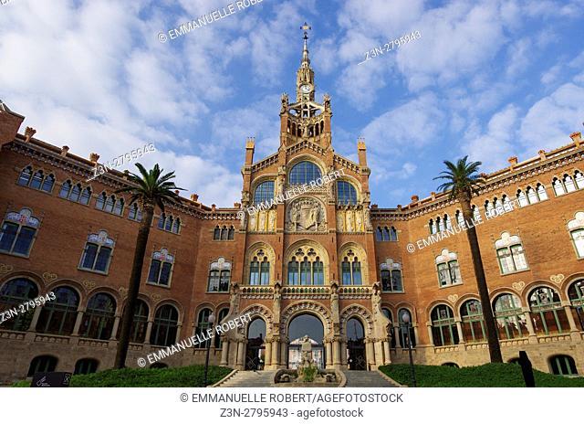 Hospital de la Santa Creu i Sant Pau, Pavilion, Architect Luis Doménech y Montaner, Eixample District, Barcelona, Catalonia, Spain, Unesco World Heritage Site