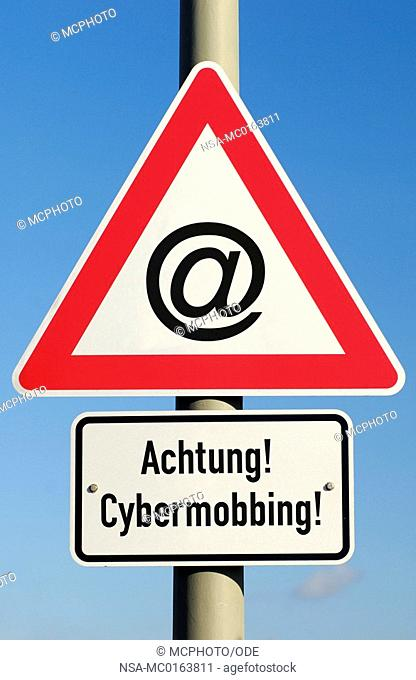Warning sign cyberbullying montage