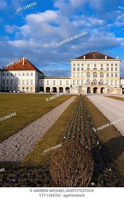 Spring buds just planted at Nymphenburg Palace in Munich, Germany