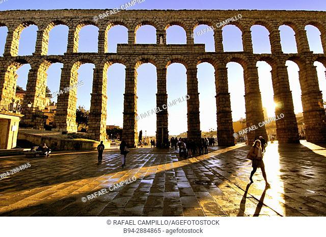 The Roman Aqueduct, 1st century b.C. Castilla León. Segovia, Spain