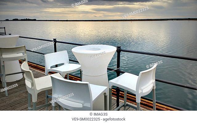 Terrace in Riotinto pier, Huelva, Andalusia, Spain