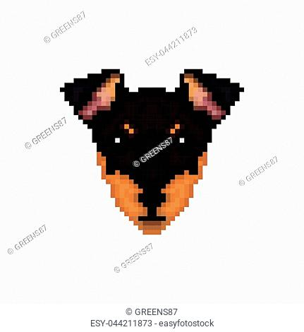 Portrait of a Manchester terrier in pixel art style. Vector illustration