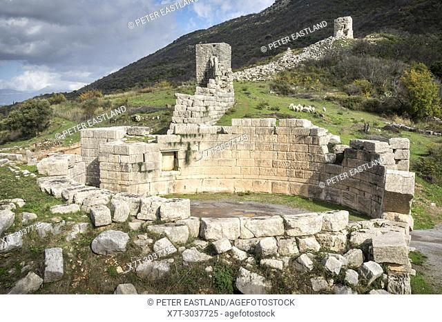 The Arcadia gate and massive stone walls at ancient Messene (Ithomi), Messinia, Southern Peloponnese, Greece