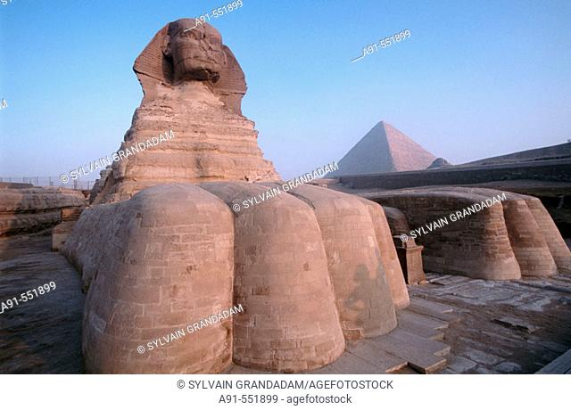 Sphynx and pyramids, Gizeh. Egypt
