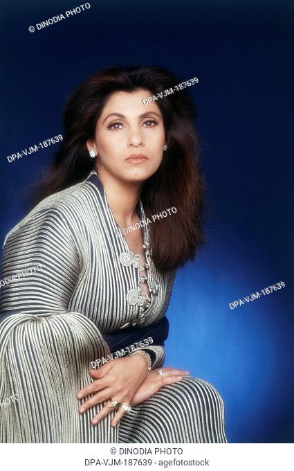 1990, Portrait of Indian film actress Dimple Kapadia