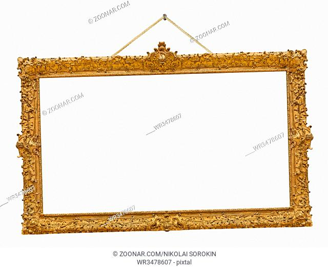 Old wooden picture frame hanging on a rope isolated on white background