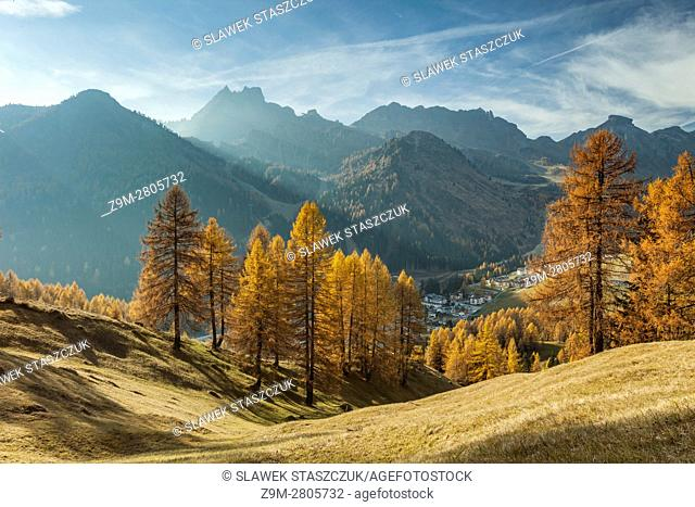 Autumn morning on an alpine meadow in the Dolomites, Italy