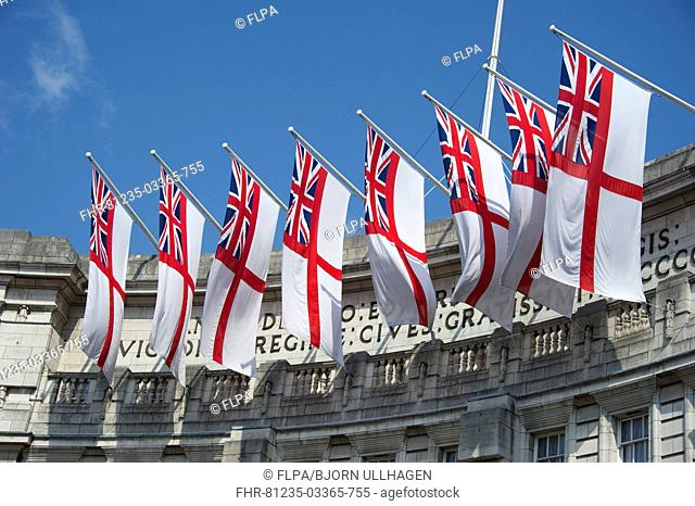 White Ensign flags on office building, Admiralty Arch, City of Westminster, London, England, april
