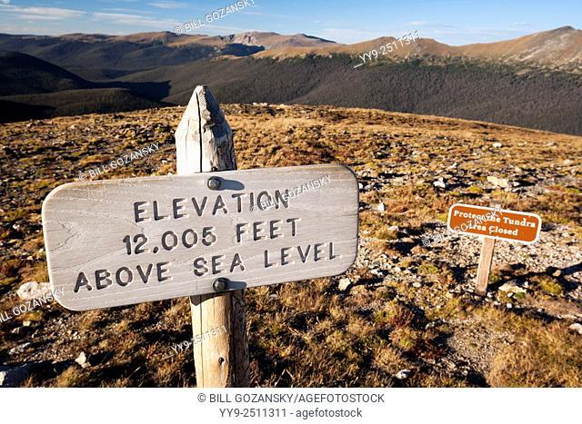 Elevation Sign 12,005 Feet - Alpine Tundra Ecosystem - Rocky Mountain National Park, near Estes Park, Colorado, USA