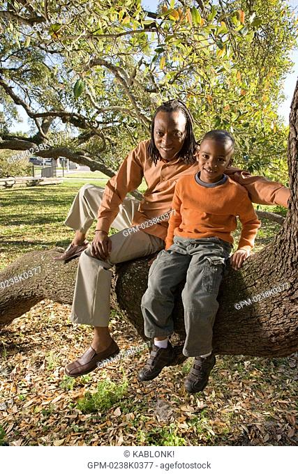 Portrait of African American father and son sitting on tree branch in park, looking at camera