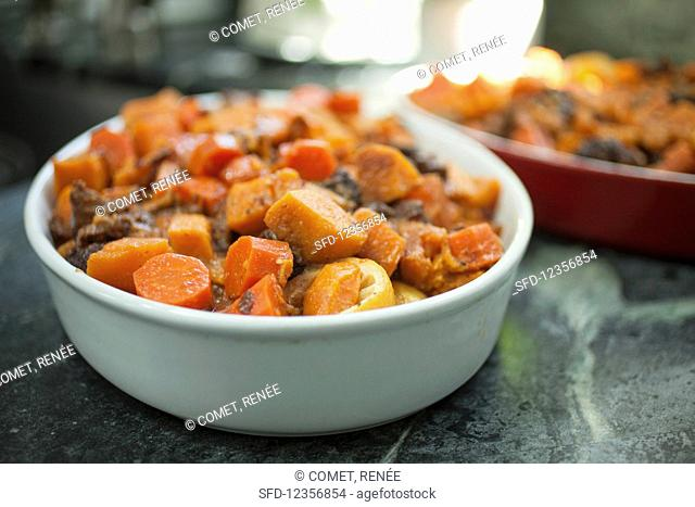 Zimmes (a Jewish dish with sweet potatoes, carrots and prunes)