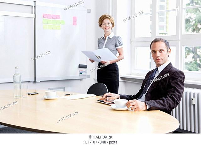 A businesswoman giving a presentation