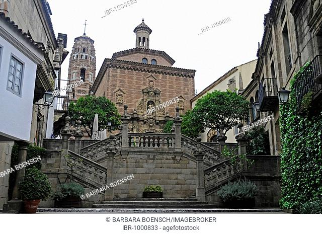 Stairs and church, Poble Espanyol, Spanish village, open-air museum, Montjuic, Barcelona, Catalonia, Spain, Europe