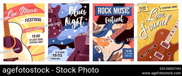 Set of posters with guitars vector flat illustration. Collection flyer templates of live music, rock festival and blues night with place for text