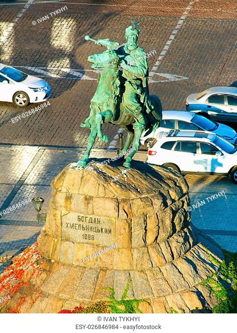 View of Bohdan Khmelnytsky monument in Kiev, Ukraine